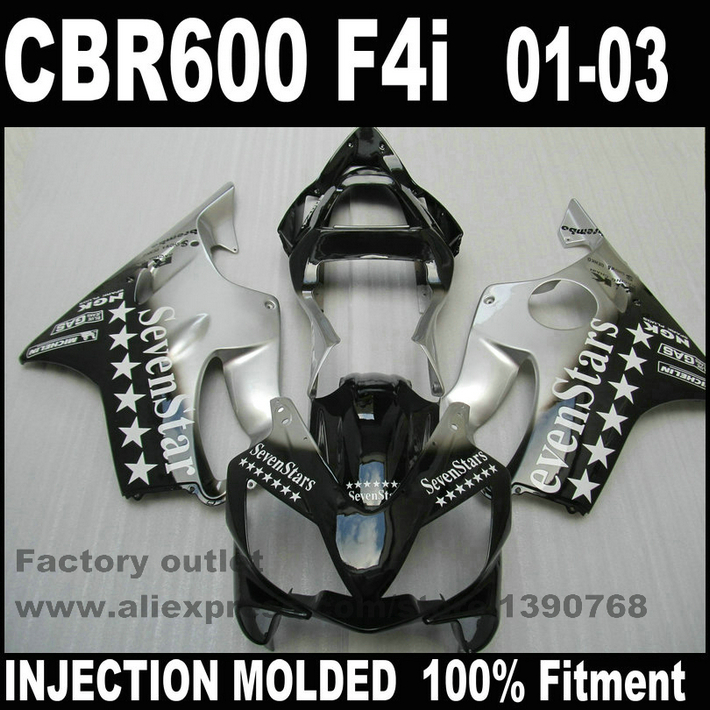 Bodywork Injection Molded for HONDA CBR 600 F4i fairings 01 02 03 CBR600 2001 2002 2003 black SevenStars fairing kit RE70 gray moto fairing kit for honda cbr600rr cbr600 cbr 600 f4i 2001 2003 01 02 03 fairings custom made motorcycle injection molding