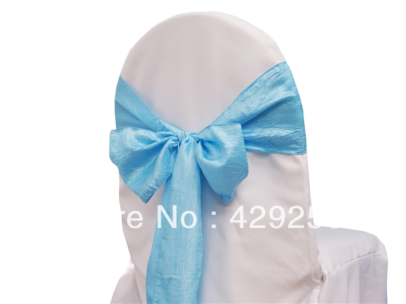 free shipping 100pcs light blue crushed taffeta chair sash for wedding party