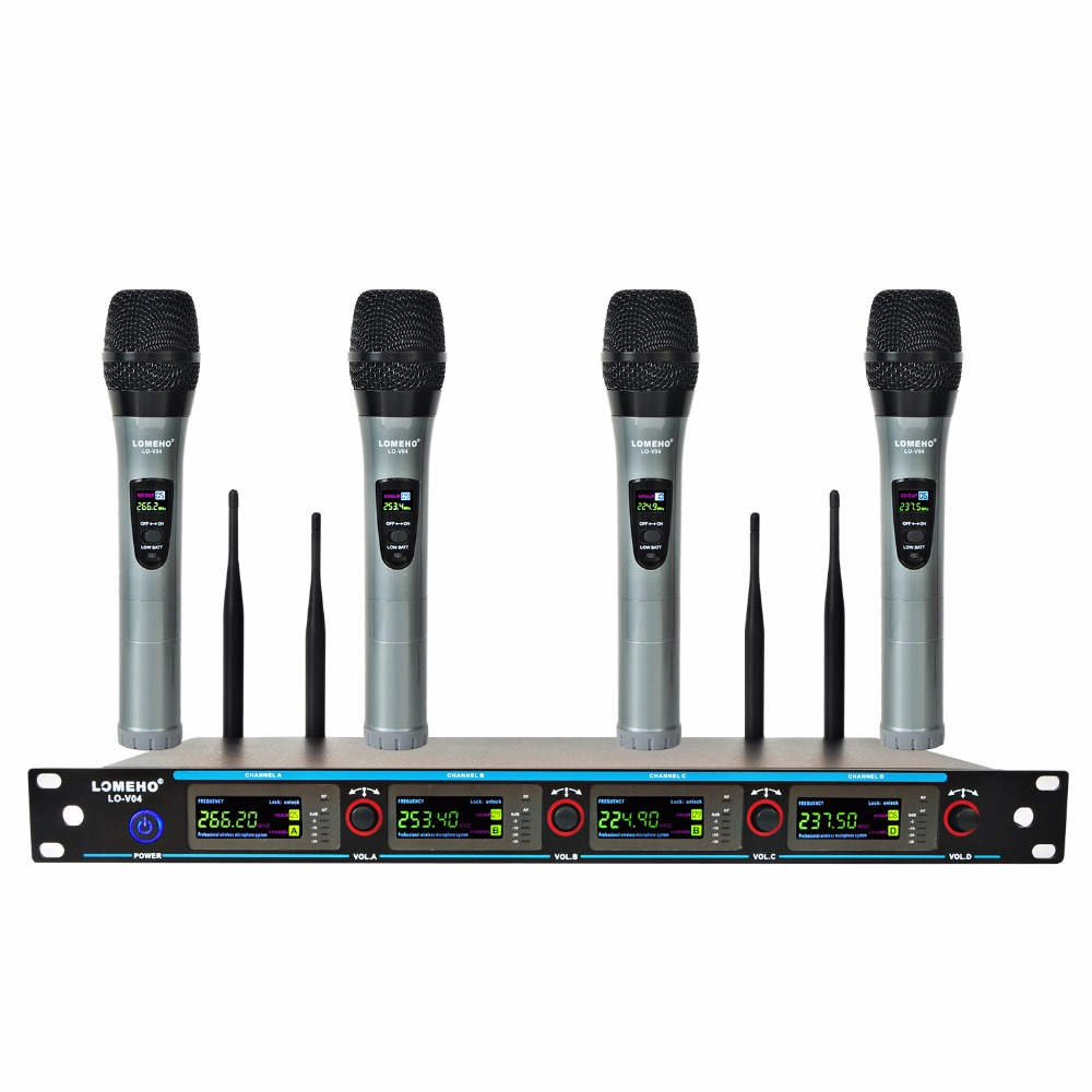 LOMEHO LO-V04 4 Way 4 Channels 4 Metal Handheld Mic Karaoke KTV Party Dynamic Mic Church Microphone VHF Wireless Microphone visa v04 p04 n