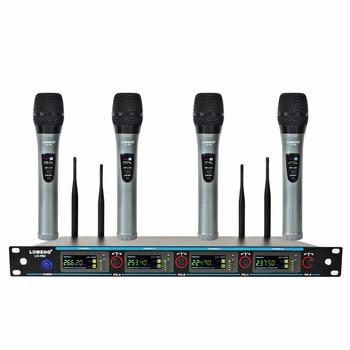 LOMEHO LO-V04 4 Way 4 Channels 4 Metal Handheld Mic Karaoke KTV Party Dynamic Mic Church Microphone VHF Wireless Microphone
