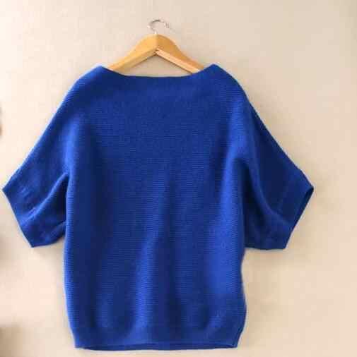 2019 herfst winter trui vrouwen kasjmier trui losse size batwing shirt korte mouwen gebreide wollen trui vrouwelijke trui