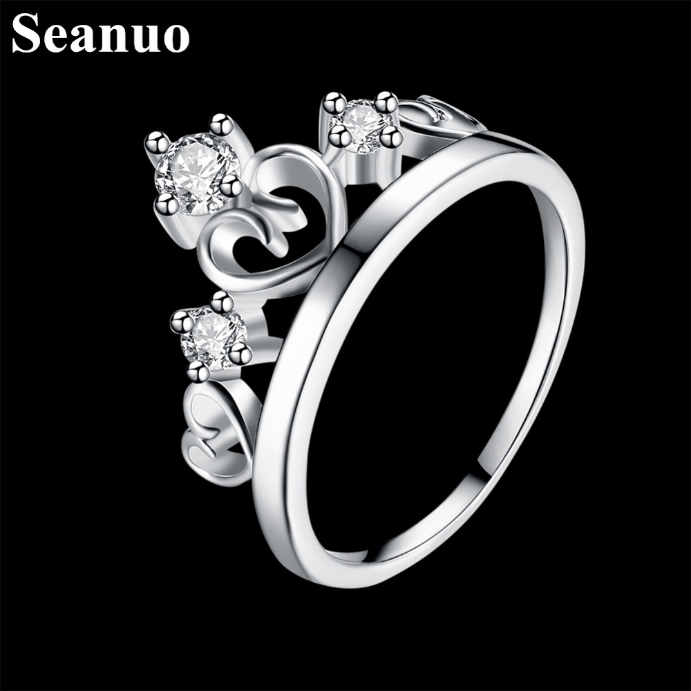 Seanuo Jewelry Co., Ltd. store Seanuo Luxury sterling silver AAA zircon crown shape queen's wedding ring for women fashion elegant lady 925 silver party rings