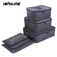 Купить с кэшбэком 6pcs/set Travel Bag Organizer Luggage Travel Bags Clothes Storage Bag Suitcase Organizer Clothes Tidy Pouch Packing Cubes Set