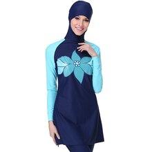 Zon Beschermen Moslim Zwemmen Kleding Print Volledige Cover Modest Islamitische Hijab Swimwears Beachwears Burkinis voor Moslim Vrouwen Meisjes