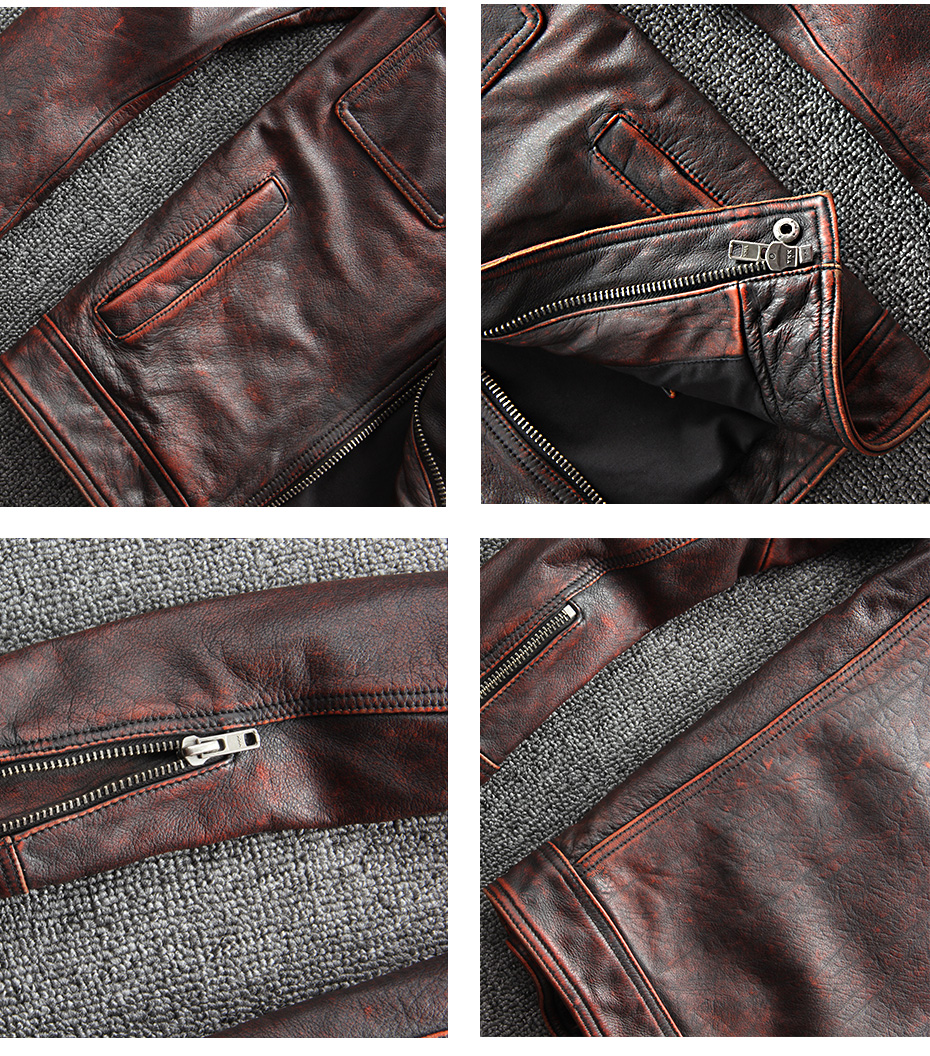 HTB1ZWt8Xoz1gK0jSZLeq6z9kVXaA CARANFIER DHL Free Shipping Mens 100% Cowhide Genuine Leather Jacket High quality old retro motorcycle leather jacket 3XL