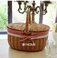 Wicker Picnic basket handmade storage cassette cover steamed willow baskets woven straw fruits basket for gardening and shopping