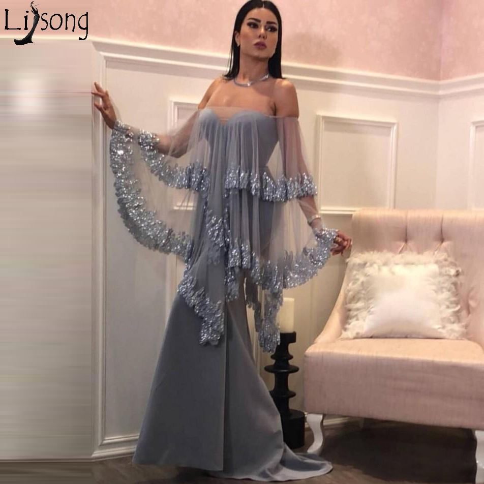 2019 New Sexy Sliver Mermaid Evening   Dress   Bateau Strapless Sleeveless Wrap Satin Tulle Applique Chic Long   Prom     Dress   Party Wear