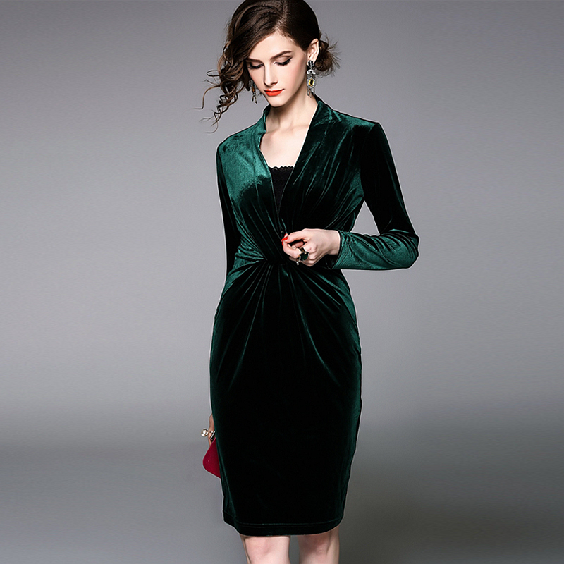 Здесь продается  Velour Dress Women Elegant Design Solid Deep V Neck Long Sleeves 2 Colors Party Dress New Fashion Style Spring 2018  Одежда и аксессуары
