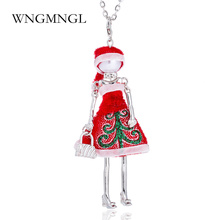 WNGMNGL 2018 New Red Dress Doll Pendant Necklace Christmas Party Dance Girl Charm Maxi Necklace Statement Jewelry For Women Gift wngmngl 2018 new women long necklace christmas party crystal doll pendant necklace for women charm statement fashion jewelry