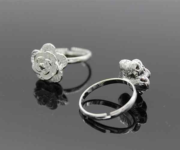 โปรโมชั่นร้อนแฟชั่นสีเงินแหวน Big 3D Rose ดอกไม้เปิดแหวนผู้หญิง Girl 925 ราคาถูกขายส่งโรงงานเครื่องประดับ