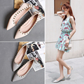 Rivet single shoes woman female shallow style pointed toe shoes woman flat women fashion leather shoes lady casual shoes