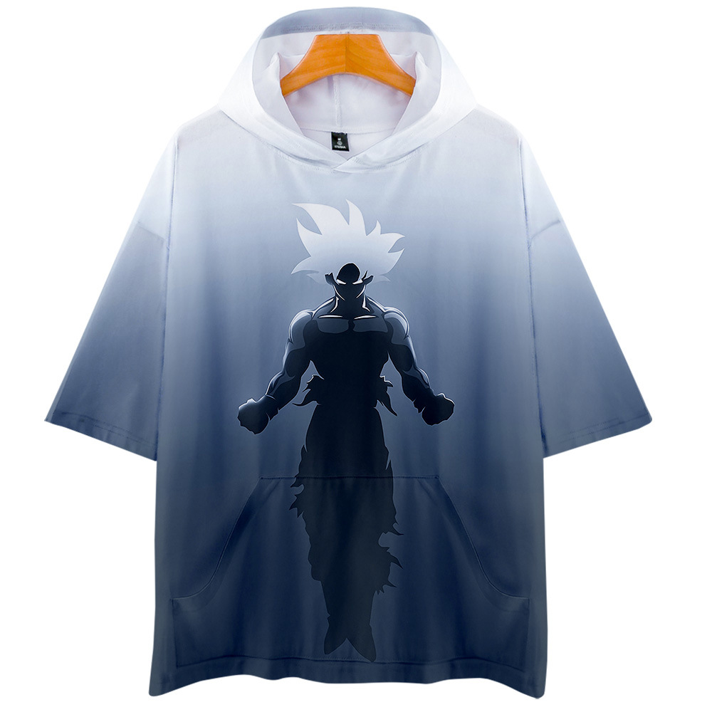 CJLM Anime Funny Tshirt With Cap Men Summer 3D Print Son Goku T-shirt Dragon Ball T Shirts Man Hiphop Short Sleeve Hooded Hoody