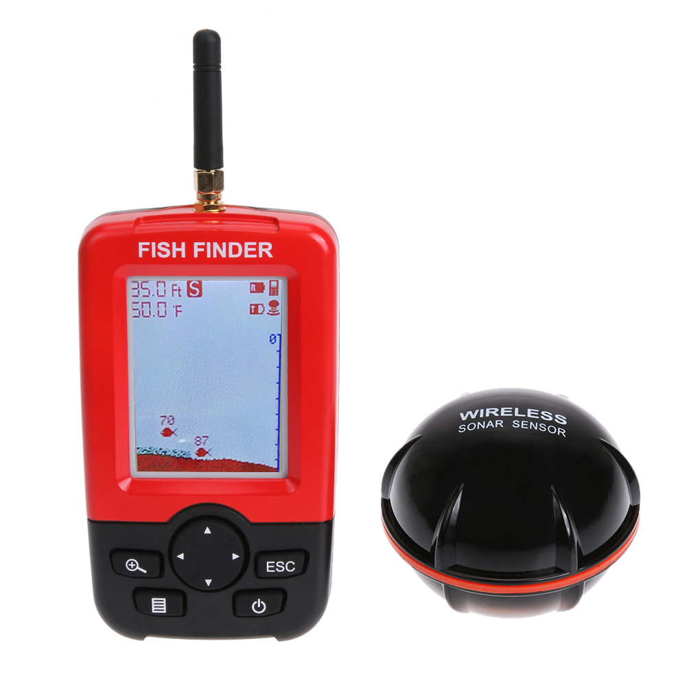 Smart  Colorful LCD Depth Fish Finder 100 M Wireless Sonar Transducer Portable Fish Finder Battery Charging 90 degree portable waterproof 200khz sonar lcd fish finder green background light max 100m range 40 degree angle detector cam transducer