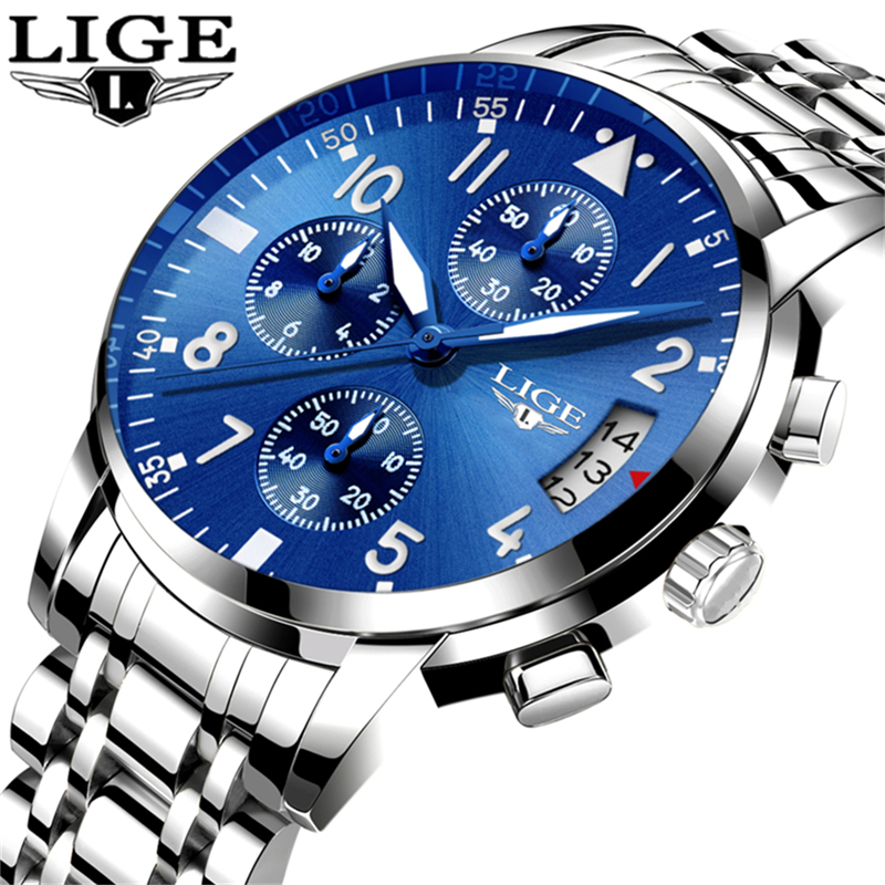 Relogio Masculino LIGE Mens Watches Top Brand Luxury Fashion Business Quartz Watch Men Full Steel Chronograph Sport Wristwatch relogio masculino lige men watches top brand luxury fashion business quartz watch men sport full steel waterproof wristwatch man
