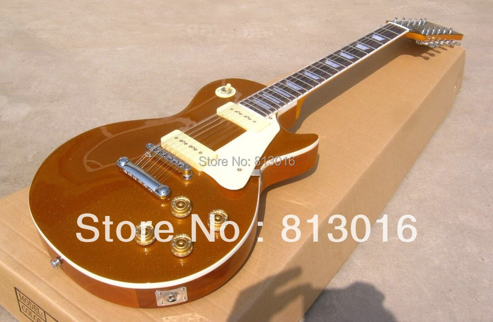 Wholesale Custom New Style metalic high glossy  gold top color  12 string LP electric guitar with Chrome hardware free shipping двухколесные самокаты navigator fortuna т576