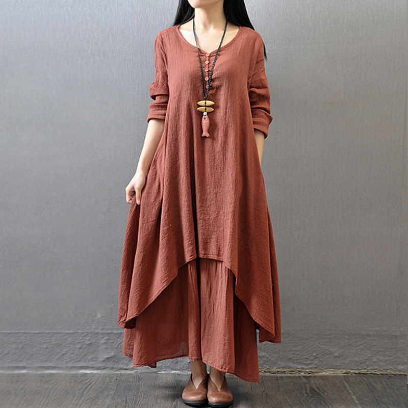 7bc9a182501f5 OLN Chinese Women 2018 Vintage Button Cotton Linen Dress O Neck Plus Size M  5XL Long Sleeve Casual Loose Summer Party Club Robe-in Dresses from Women s  ...