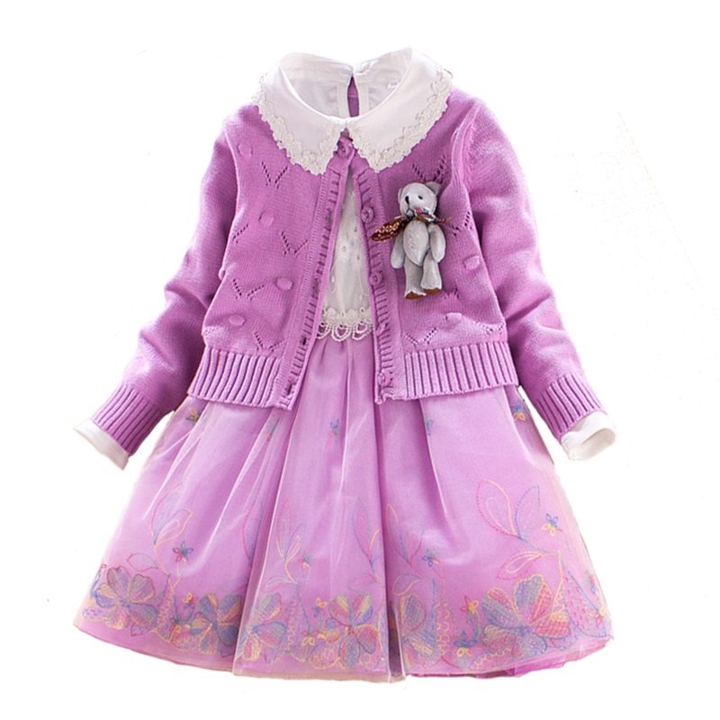 Children Sets Girls Winter Sweater Coat Kids Cotton Embroidered Dress with Cartoon Doll Decoration Princess Suit 2pcs for 4y-8y autumn winter girls children sets clothing long sleeve o neck pullover cartoon dog sweater short pant suit sets for cute girls