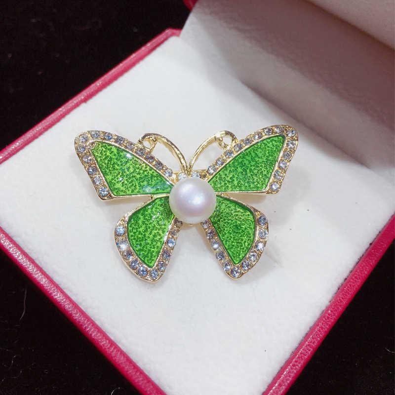 ZHBORUINI 2019 Neue Perle Brosche Einfache Emaille Schmetterling Perle Breastpin Natürliche Süßwasser Perle Schmuck Für Frauen Dropshipping