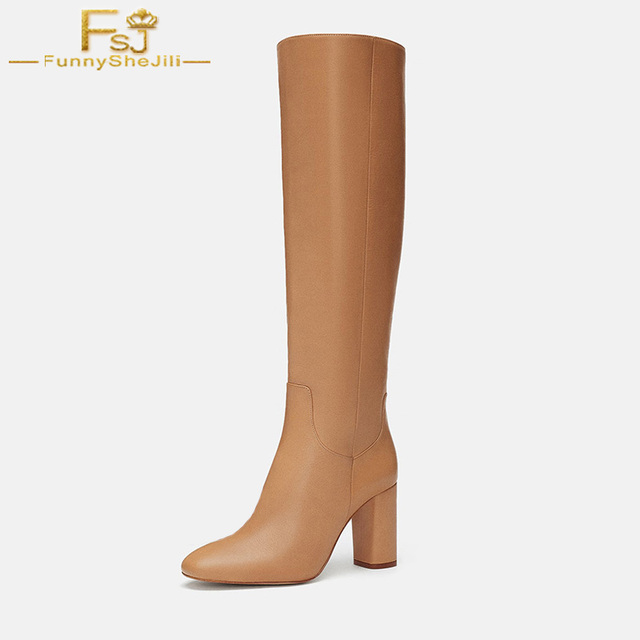 7baa92375c3 FSJ Fashion 2018 Winter Warm Crimson Camel White High Square Heels Round Toe  Knee High Boots Slip On Casual Shoes Woman Size 41