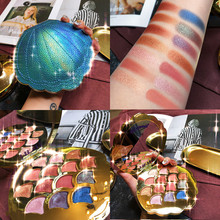 Mermaid Eyeshadow Palette 14 สี Shimmer Matte Glitter อายแชโดว์ Pallete METALLIC PigmentedCosmetic MakeupPalette หนัง