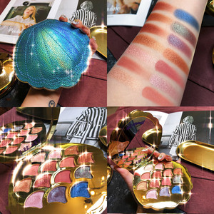 Image 1 - Mermaid Eyeshadow Palette 14 สี Shimmer Matte Glitter อายแชโดว์ Pallete METALLIC PigmentedCosmetic MakeupPalette หนัง