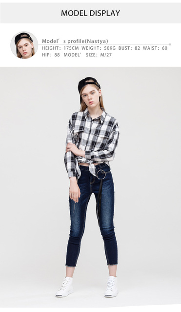 New Stitching Badge Cotton Black and White Plaid Women Blouse and Shirts