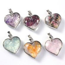 Kraft-beads Romantic Style Silver Plated Love Heart Wish Bottle Amethysts Stone Pendant Citrines Jewelry