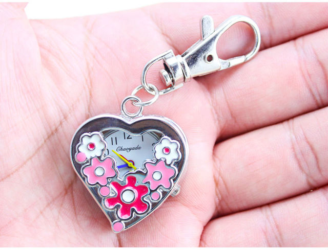 good quality silver colorful flower pocket watch with keychain necklace Hollow h