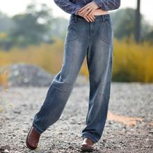 Повседневные джинсы деним новые модные прямые брюки для женщин размера плюс высокая Талия Хлопок Смесь полная длина осень зима chu0601