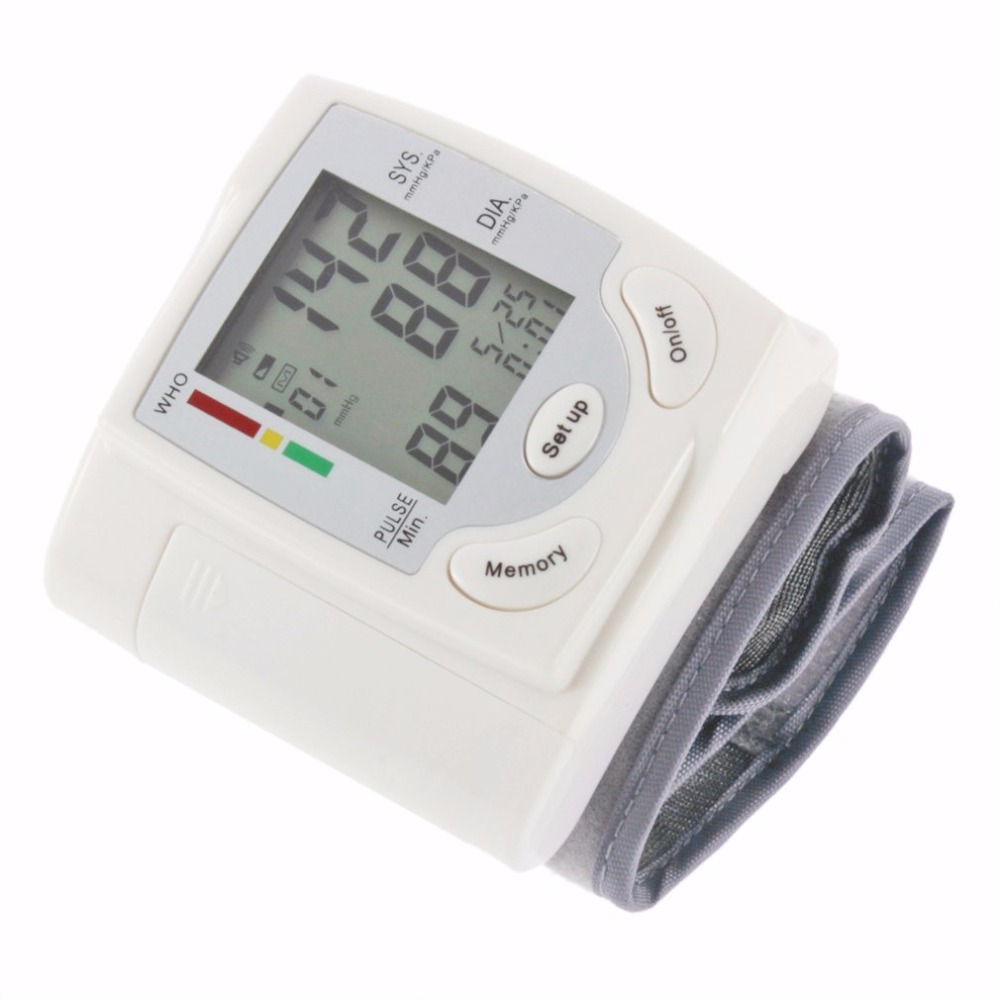 2017 Home Health Care Hot Digital LCD Wrist Blood Pressure Monitor Heart Beat Rate Pulse Meter Measure Hot Selling multifunction pulse heart rate calorie wrist watch silver black