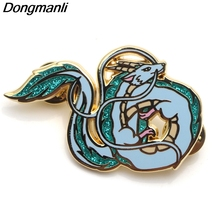P3864 Dongmanli Fashion  White Dragon Metal Enamel Brooches and Pins Collection Lapel Pin Badge Jewelry