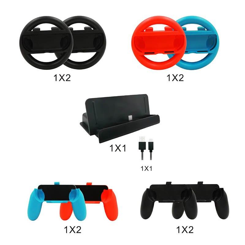 Ensemble d'accessoires 10 en 1 pour interrupteur ntint 4 * poignée de roue de direction pour Joy-con Grip 4 * poignées de contrôleur type-c Charge de câble