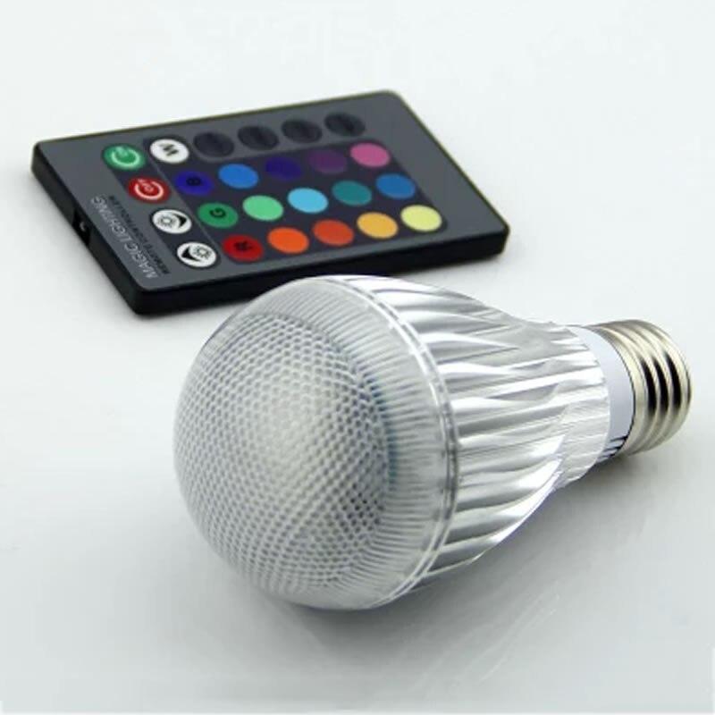 Фото E27 RGB LED Lamp 3W 10W LED RGB Bulb Light Lamp 110V 220V Remote Control 16 Color Change Lampada LED Luz