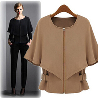 Women Winter Coat Autumn New Fashion Was Thin Wild European And American Models Shawl Sleeve Short