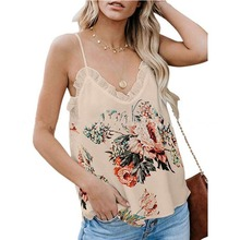 Womens Camisole Sleeveless Pasta Stripe Floral Print V-neck Lace Panel Loose