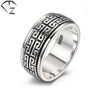 GZ Men Scripture Rings 925 Silver Trendy Flower Adjustable Size S925 Solid Thai Silver Ring For