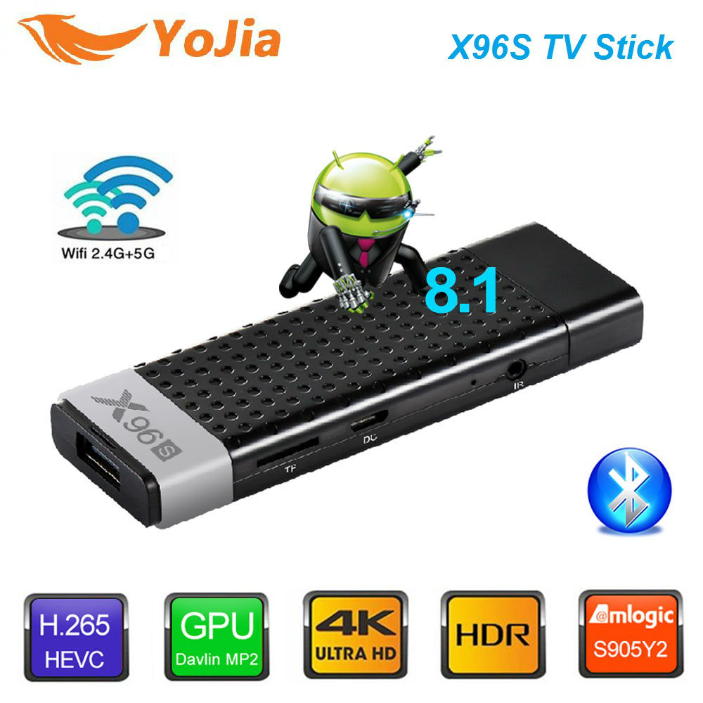 Smart 4 K Android 8.1 TV Box X96S Amlogic S905Y2 DDR4 4 GB 32 GB X96 Mini PC TV Stick 5G WiFi Bluetooth 4.2 TV Dongle lecteur multimédia