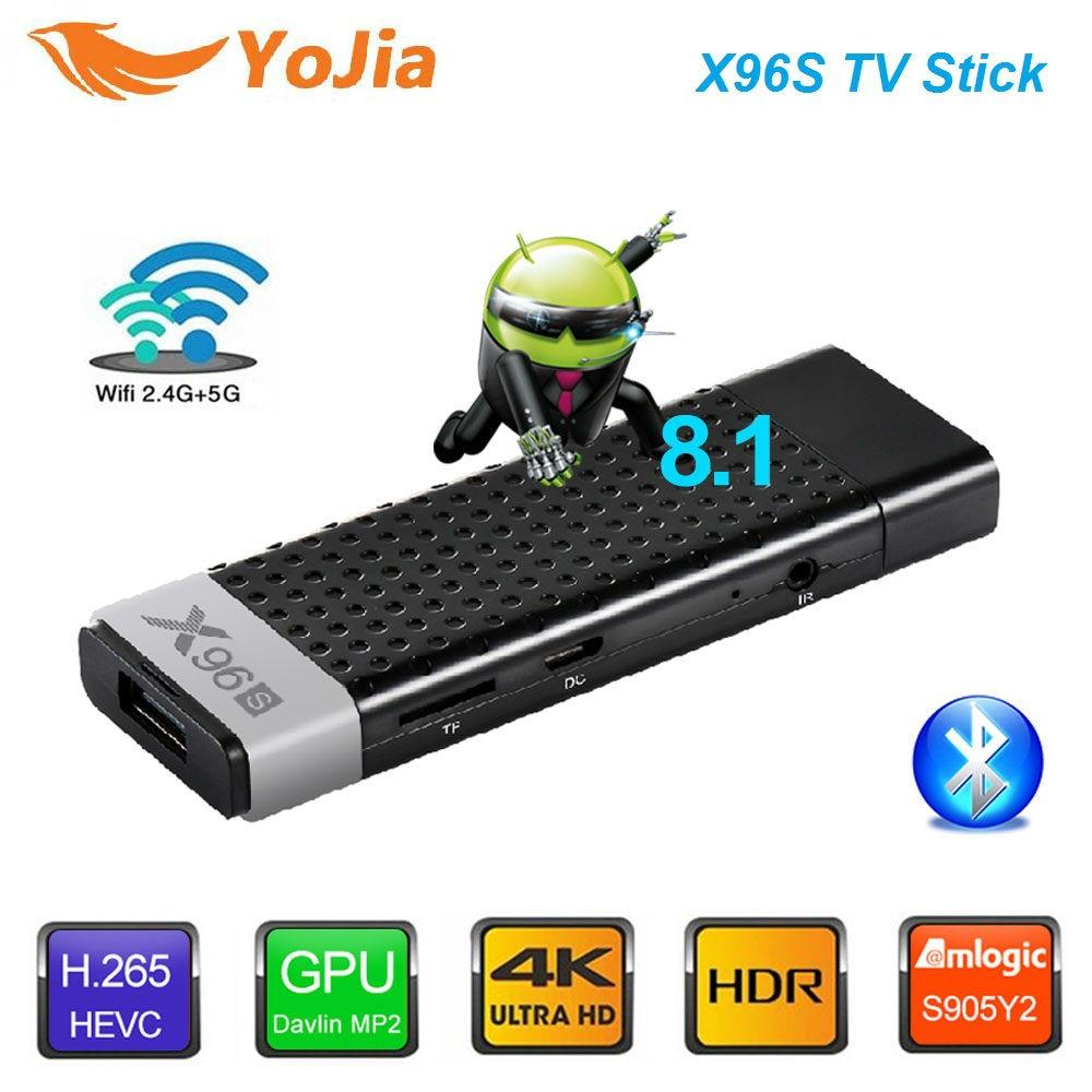 Smart 4 K Android 8,1 caja de TV X96S Amlogic S905Y2 DDR4 4 GB 32 GB X96 Mini PC TV Stick 5G WiFi Bluetooth 4,2 TV Dongle reproductor de medios