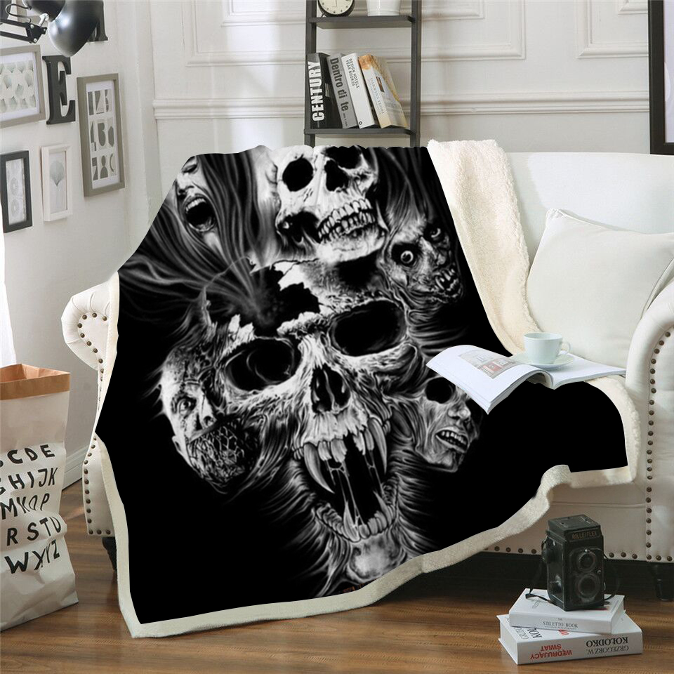 Screaming Skull 3D Printed Sherpa Blanket Couch Quilt Cover Travel Bedding Outlet Velvet Plush Throw Fleece Blanket Bedspread otomatik çadır
