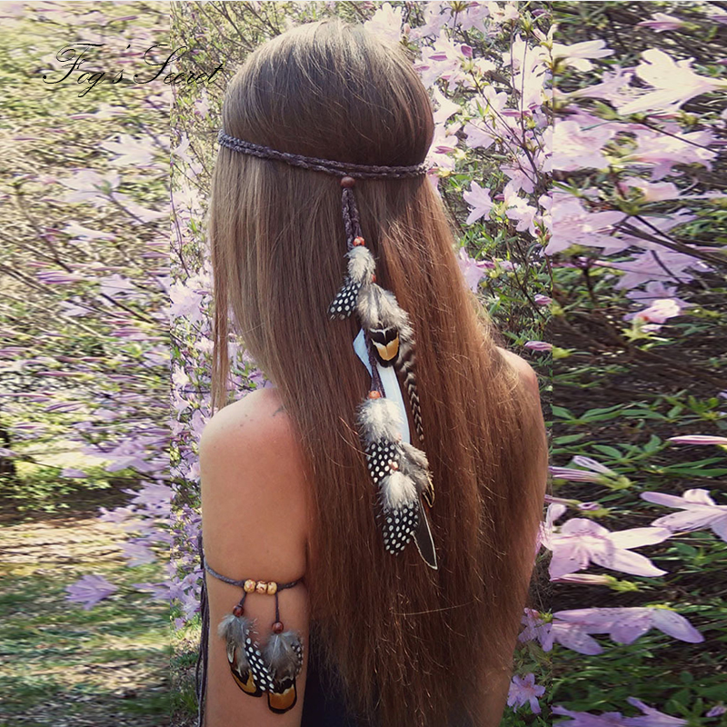 Bird Feather Hairwear For Women Hair Accessories Bohemian Exotic Hand Made Weaving For Bride Wedding Hairbands Hair Clips