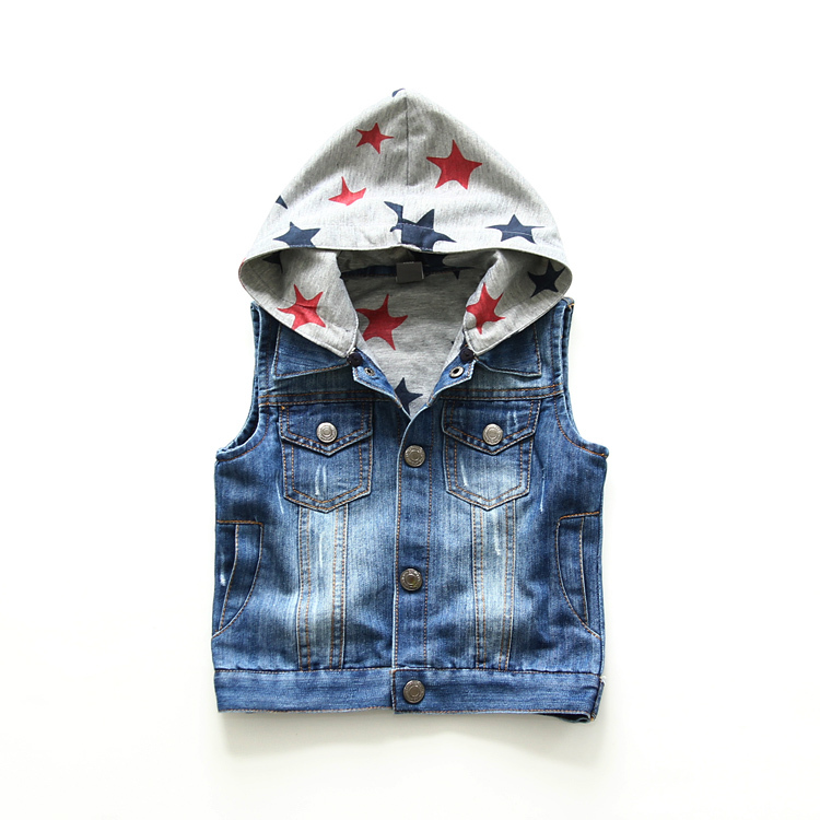 ФОТО New boys and girls high quality 100% cotton hooded sleeveless denim vest baby children clothes