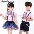 2017 juego de ropa para niños niñas de La Escuela de tenis deportes de los niños traje de verano uniformes niños edad tamaño 4-13Tyears