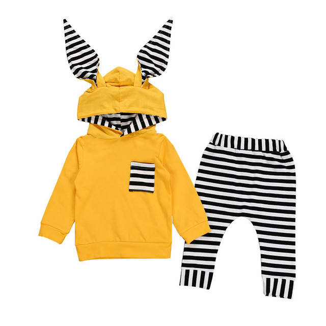 Striped Bunny Ear Hoodie