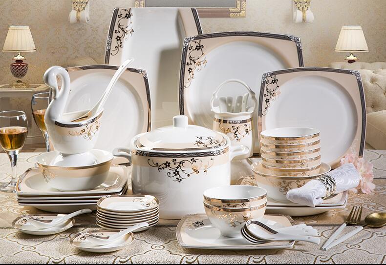 58 pcs high grade bone china tableware set luxury gold rimmed square bowls plates set European household ceramic dinnerware set-in Dinnerware Sets from Home ... & 58 pcs high grade bone china tableware set luxury gold rimmed square ...