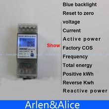 5(65)A 230V 50HZ display voltage current Positive reverse active reactive power Single phase Din rail KWH Watt hour energy meter