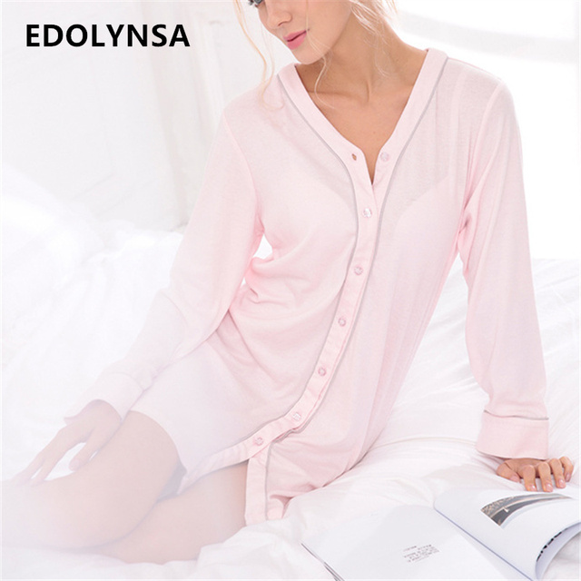 New Arrivals Elegant Nightgowns Sleepshirts Indoor Clothing Comfortable Sleep Shirts Sexy Home Dress Solid Nightgown Female#H197