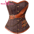 2016 New Fashion Brown Brocade Corset And Bustiers Gothic Steampunk Women's Lingerie Overbust Free Shipping W580907