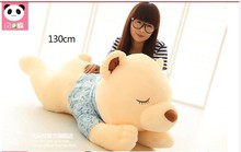 huge lovely lying bear toy big plush squinting bear in blue cloth doll gift about 130cm