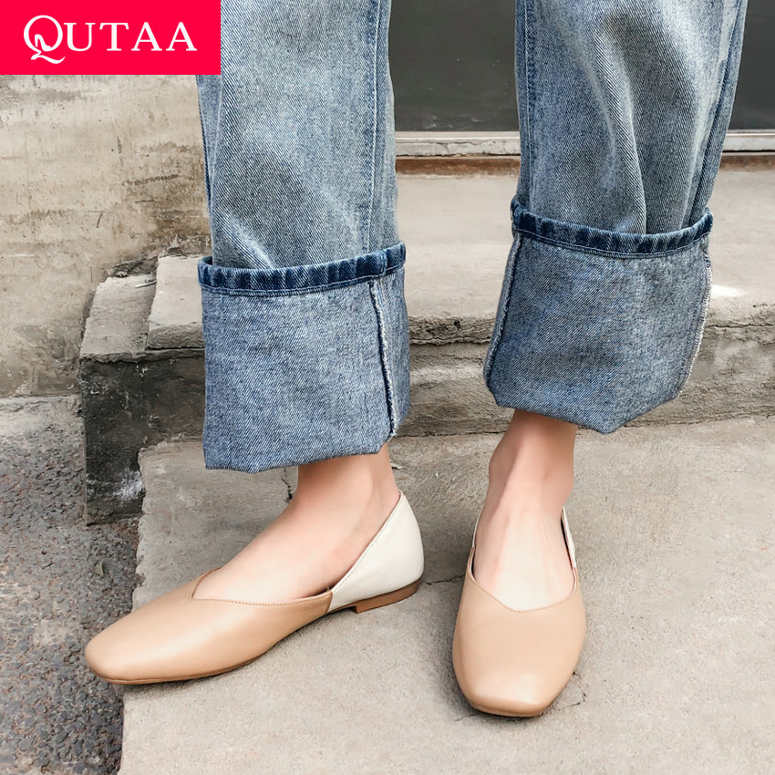 QUTAA 2019 Woman Shoes Genuine Leather Flat Heel Square Toe Mixed Color Basic Slip on Casual