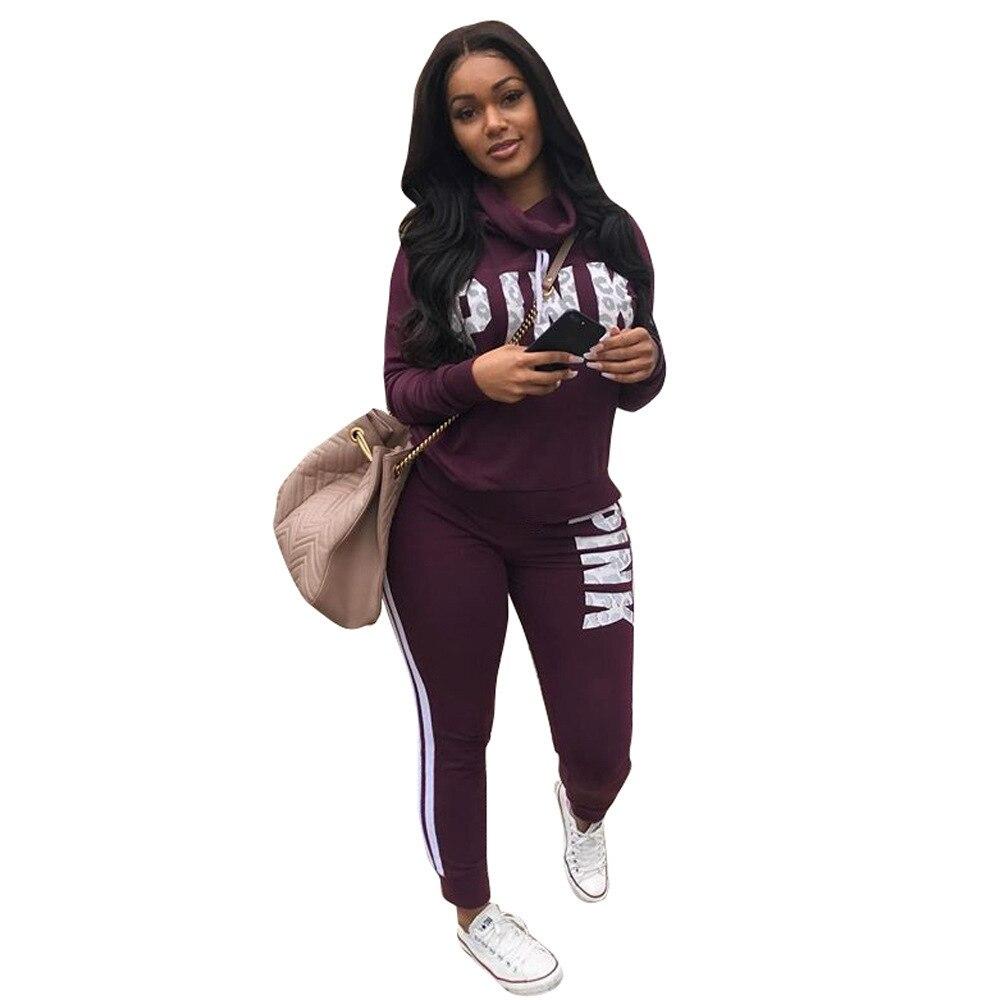Letter Pink Suit Set 2019 Women Tracksuit Two-piece Sport Style Outfit Jogging Sweatshirt Fitness Lounge Sportwear